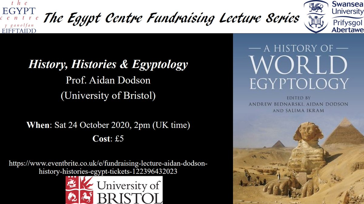 Only one week to go until the October fundraising lecture in aid of @TheEgyptCentre. The lecture will be delivered by Prof Aidan Dodson who will discuss the history, histories, and Egyptology. Tickets available here: https://t.co/SYJh66Qptr Please support the museum! https://t.co/y7YkgLM7aH