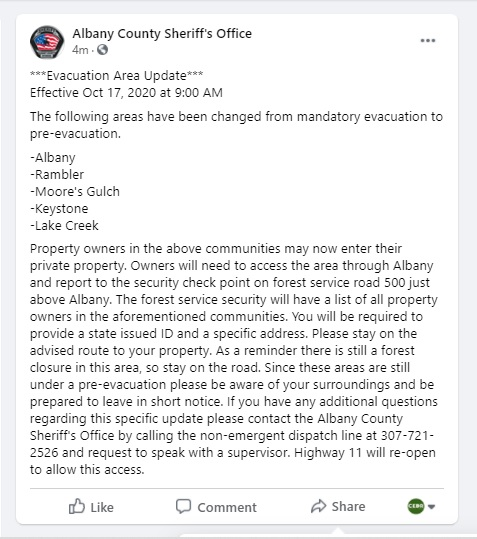 #MullenFire Update for the #AlbanyWY communities of:  #Albany #Rambler #MooresGulch #Keystone #LakeCreek https://t.co/URqOxaRSFr
