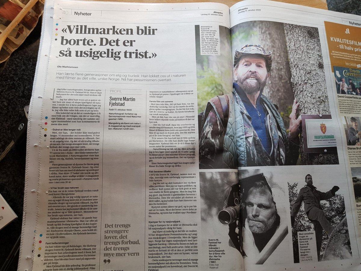 Sverre M Fjeldstad,han heter egentlig Sverre Martin,men for meg er han bare Sverre M, er 90 år i dag. Han var med på å gjøre så jeg ble glad i skauen. Det til og med på sort/hvitt-tv. Gratulerer med dagen Sverre M https://t.co/yA7cAVC7Sg