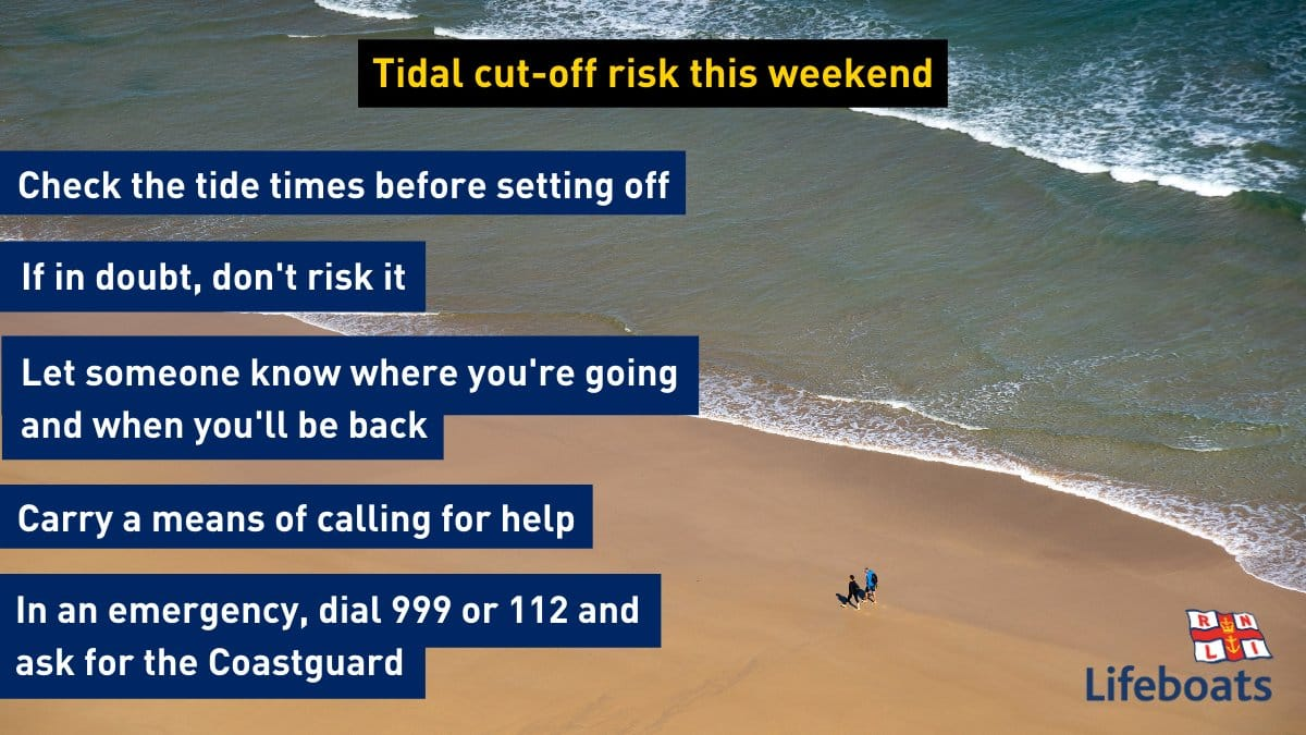 Be aware of big spring tides this weekend, which could easily cut you off, even hours before high tide. Tonight in #Looe the sun sets at 6.21 pm with high spring tide around 7pm and at 7.40 pm Sunday Please #BeBeachSafe, watch your exits and follow our top tips.  #respectthewater https://t.co/8rc1ammLm9