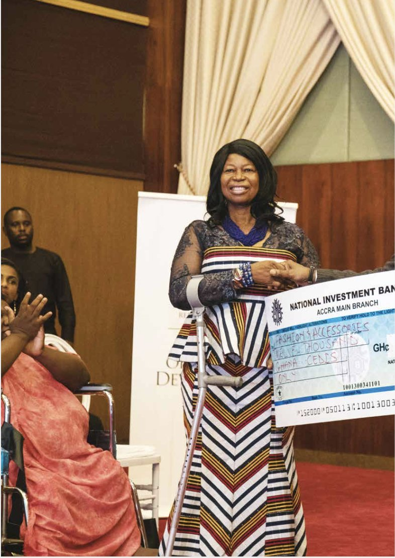 One of the female PLWD entrepreneurs receiving a cheque under the Presidential Empowerment for Women Entrepreneurs with Disability, to help her scale up her fashion and accessories business. #YourWelfareMatters #NPPChats https://t.co/9FNGWzeDUM