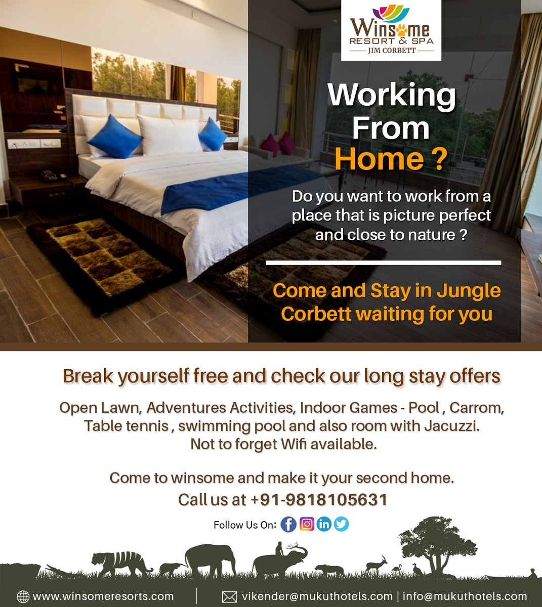 Working from Home?  Come and Stay in Jungle - Corbett waiting for you  Contact Us:- +91-9811216350  #workfromhome #safestay #longstay #office #nature #adventure #adventureactivities #corbett #jimcorbett #activities #corbettresorts #mountains #natureview #workwithview #travellers https://t.co/jBAQUW8A3x