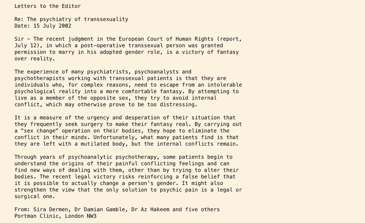 Interesting letters to the editor (Telegraph & Guardian) from clinicians at the Tavistock Clinic in 2002 after the ECHR decision on Goodwin and before the UK gov gold-plated it into the Gender Recognition Act. HT @christineburns
