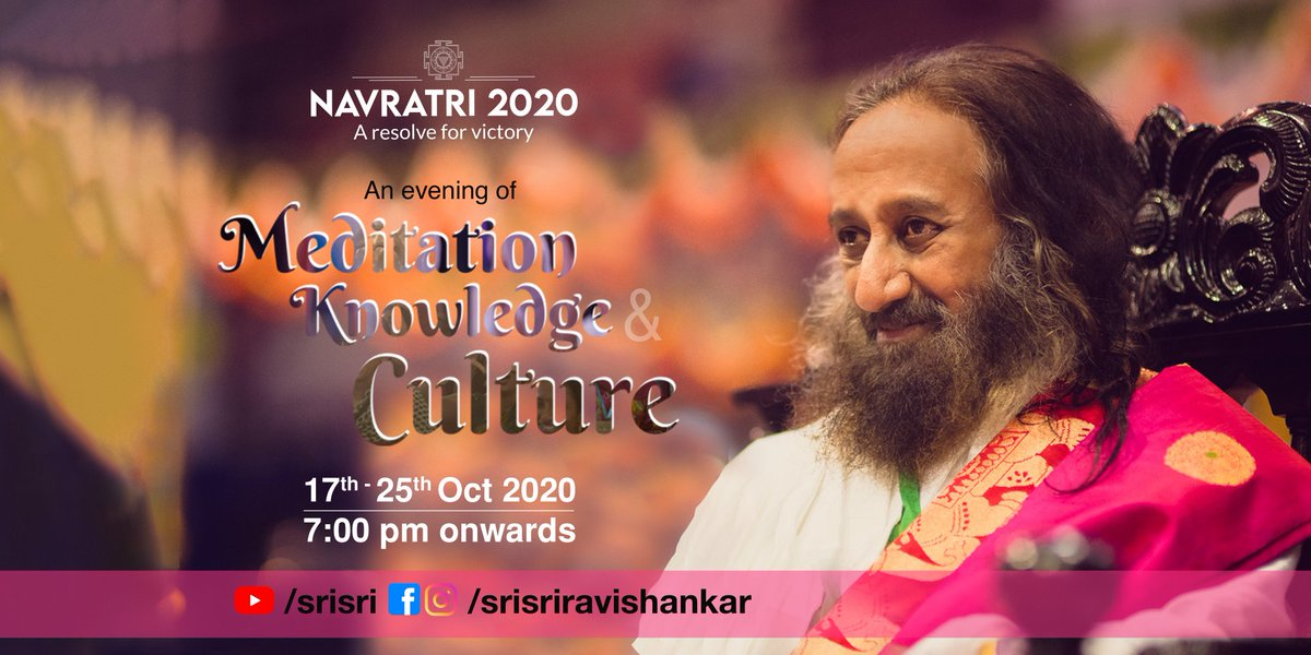Join the Navratri festivities starting tonight.  Soak in the Knowledge, Meditate with Gurudev @SriSri & Celebrate with the Cultural performances.  7 pm to 9 pm IST. Live on Gurudev social media handles https://t.co/WUXHKQEHuZ https://t.co/u2vXMt4cGN