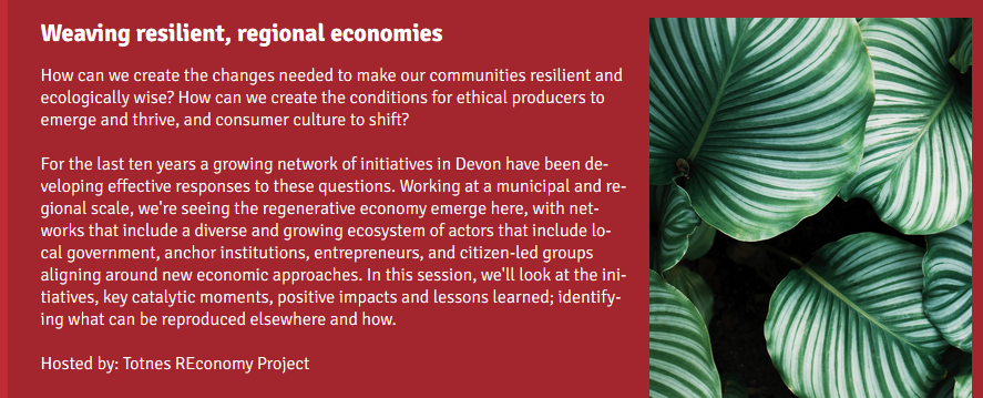 This will be an interesting session. We're part of this unfolding regenerative Devon economy story, too.  Check it out - great sessions the entire week.    @kim_tda @TorbayCDT @sdcollege @PaigntonDistCC @TorquayChamber @YESTheEdge @fishsarah @BrixhamChamber @PRSD @GNDUK_devon