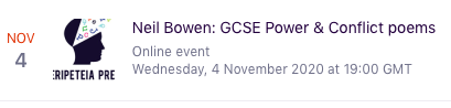 This CPD will be on Power & Conflict poetry. eventbrite.co.uk/e/neil-bowen-g…