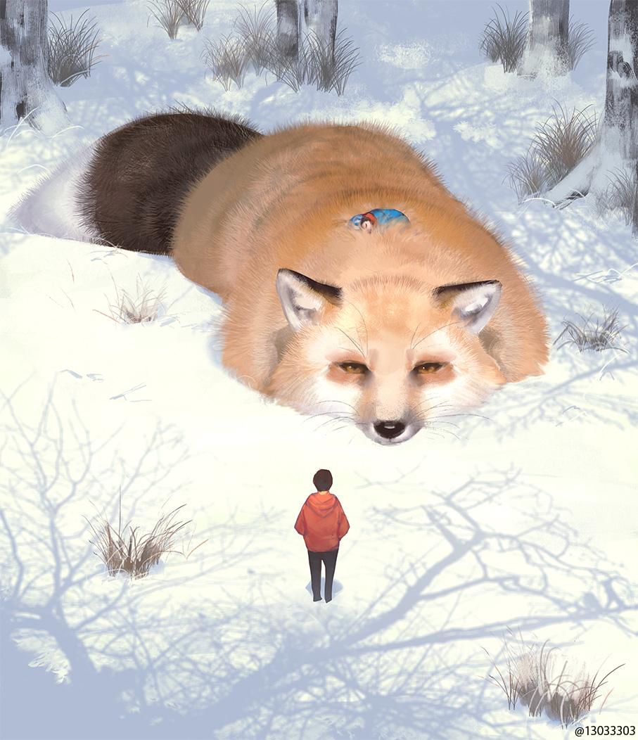 にんげん、困るのだ。おれは森のおそろしい獣であって、ふわふわのベッドではないのだ。
