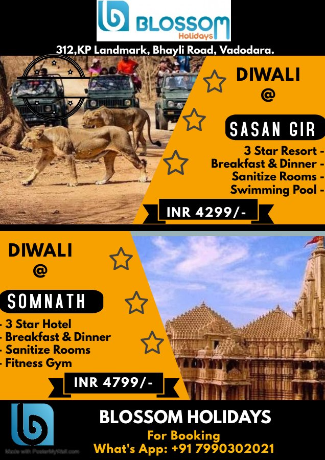Celebrate this Diwali at home of the Asiatic Lions Sasan Gir and One of the Shiva Jyotirling Temple at Somnath with best stay option. Amaze your stay with great hospitality.  #SasanGir #somnath #ResortLiving #diwali #familyfriendsfun #mesmerisingtrip #bestdeal https://t.co/AM1J19f0ql