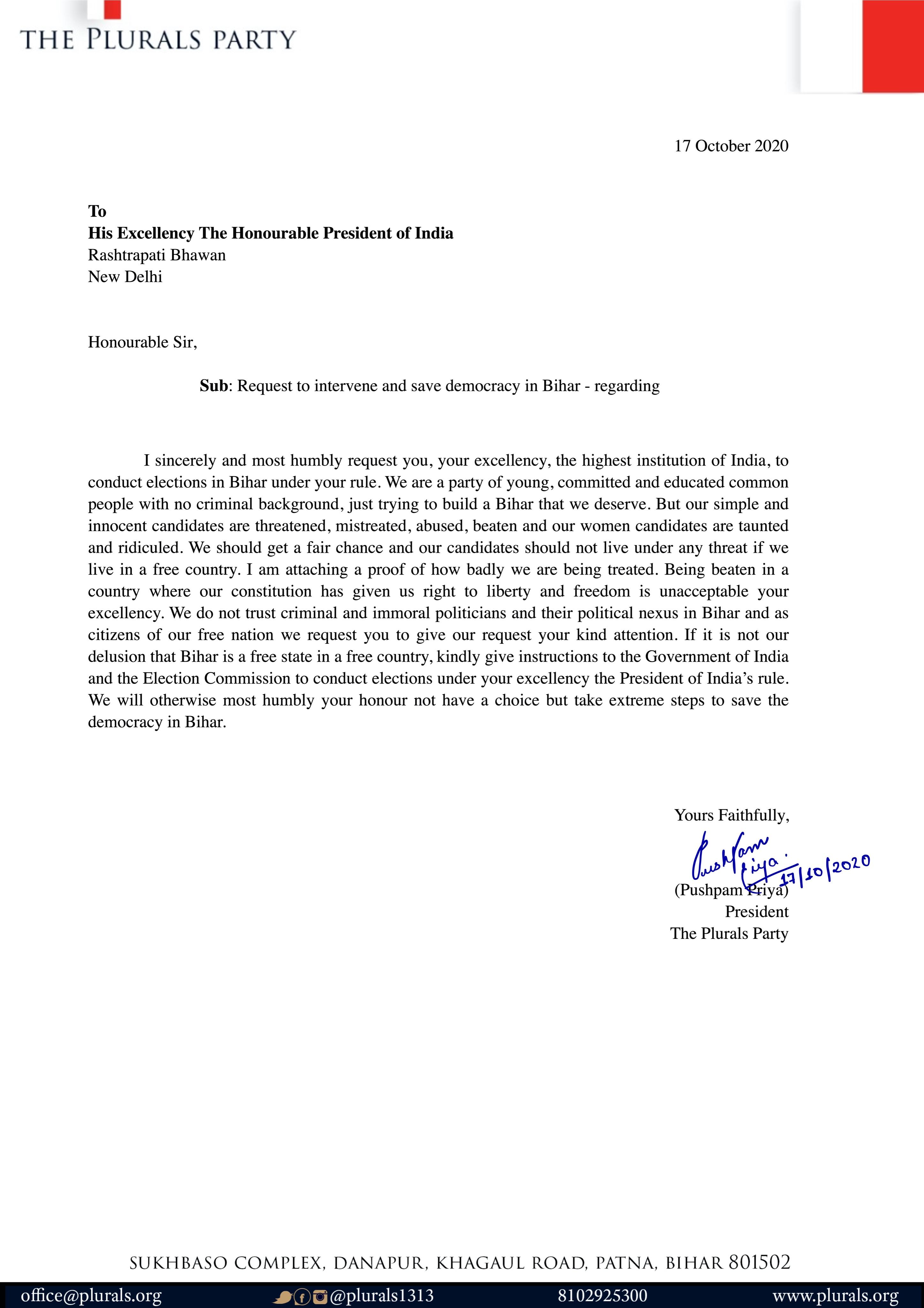 Pushpam Priya Chaudhry's letter to president Ramnath Kovind