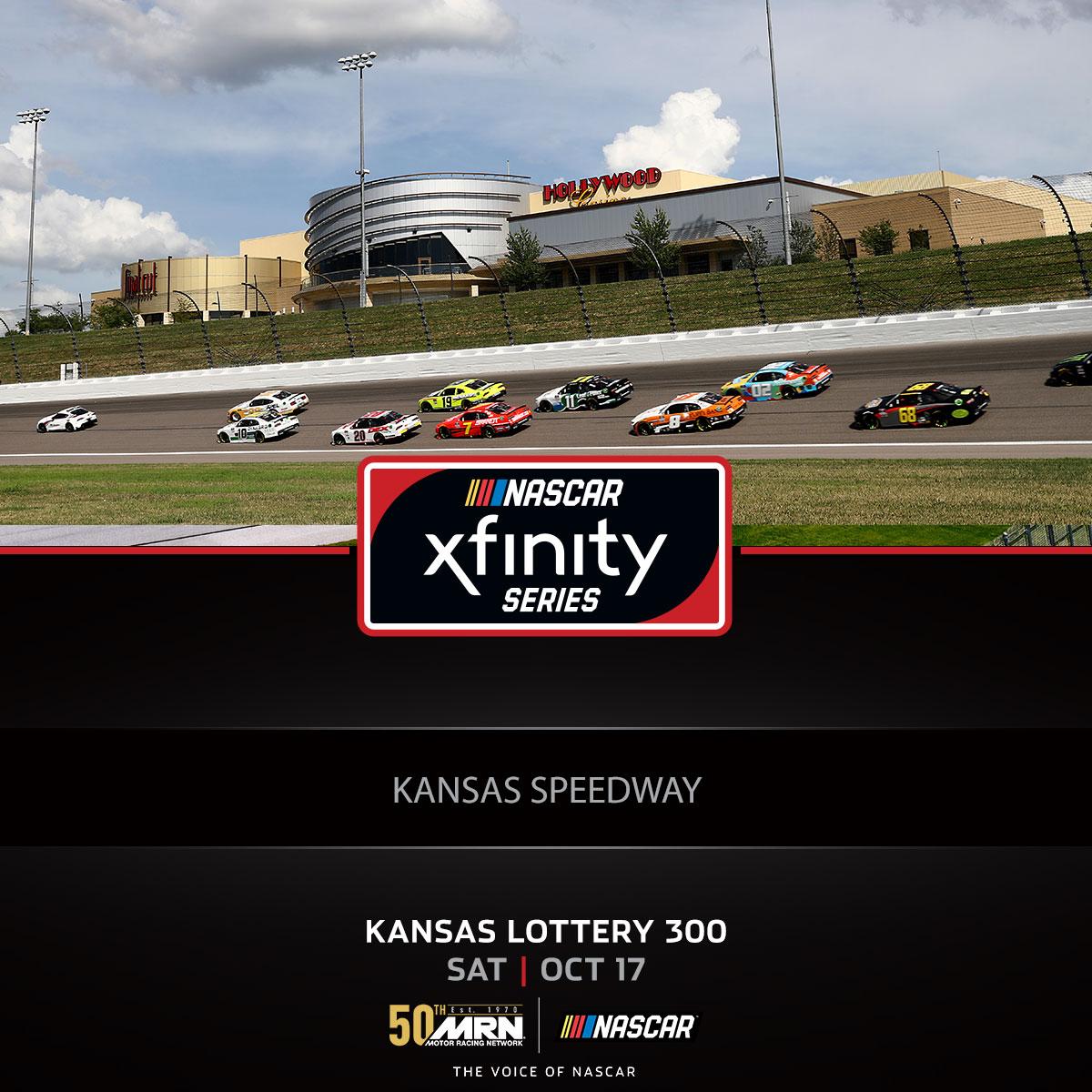 COMING UP IN ONE HOUR! Tune in for the @NASCAR_Xfinity #KSL300 @kansasspeedway #AskMRN | #NASCARPlayoffs