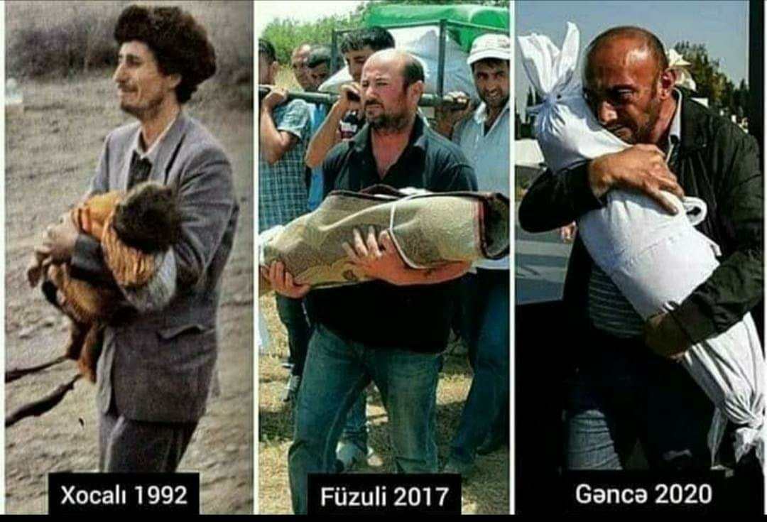 Maybe you see this photo for the first time, but Azerbaijanis have been living with the same photo for 30 years. Armenia murdering babies in Hocalı 30 years ago continues to do the same. If there are humans who can see this view and keep silent, then keep! We wont be quiet!