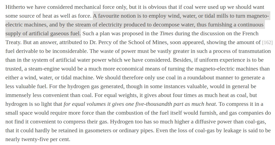 Last thread on history of renewables + hydrogen (promise):TL;DR:- Idea of using electrolysis of water & storing hydrogen is almost as old as electrolysis (1789)- Already a lively debate in *1863* about combining variable renewables with electrolytic hydrogen to replace coal