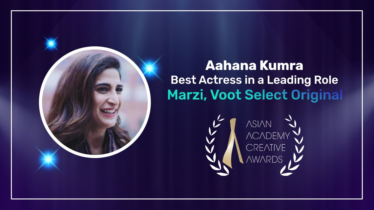 Stoked to announce that our very own @AahanaKumra has been awarded 'Best Actress in a Leading Role' for her role in #Marzi at the @AsianAcademyCr1 awards! We always knew Sameera Chauhan had it in her.  #MarziOnVoot #VootSelect #MadeForStories https://t.co/vtXsi16Fck