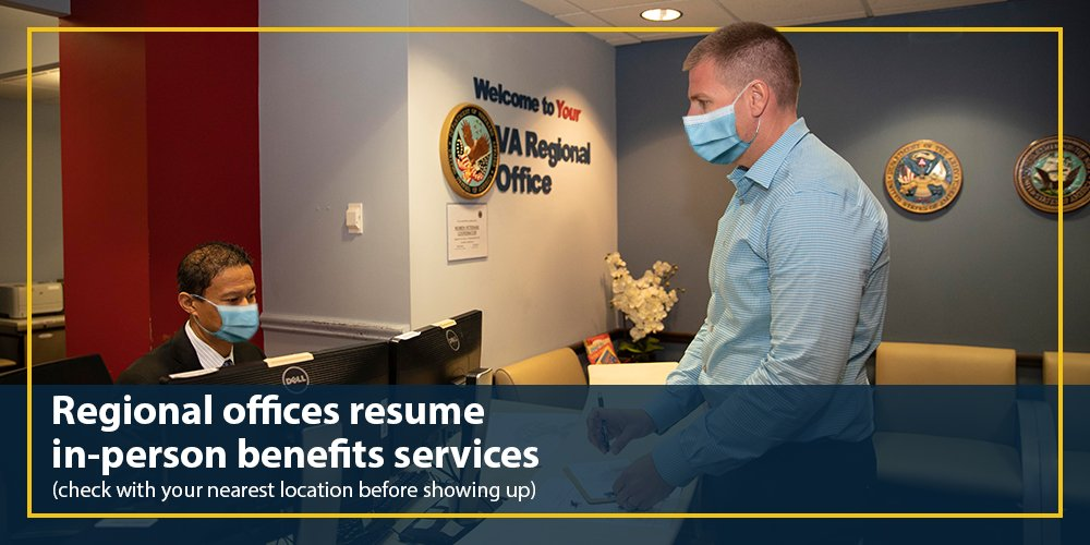 VA has resumed in-person benefits services in 11 regional offices (RO). ROs will continue adherence to @CDCgov guidelines which includes the use of social distancing, face coverings, hand sanitizer and asking sick individuals to stay at home. Learn more: https://t.co/GnoRrrhbza https://t.co/cebQD0xIA6