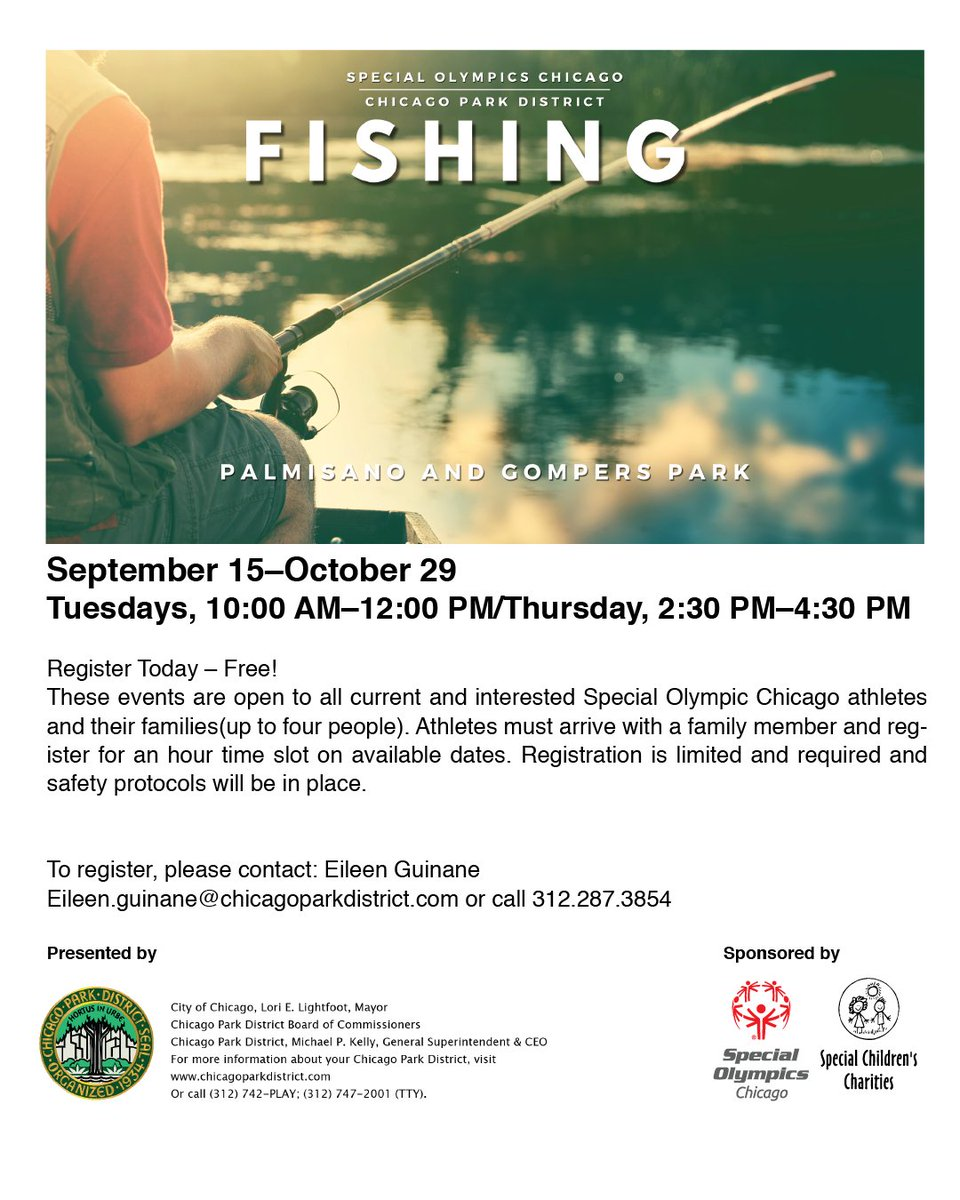 Tuesday, October 20 is fishing day! One hour shifts start at 10:00 AM, but other times are available. Reserve a spot for your family at Palmisano or Gompers park! https://t.co/F88HEsYuyZ https://t.co/22Y19AxgjP