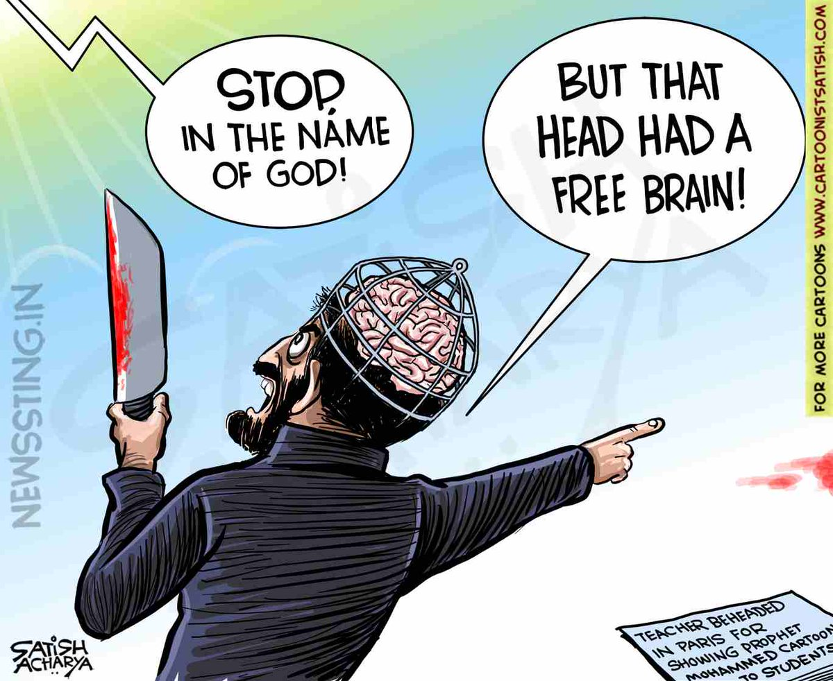Teacher beheaded in Paris for showing Prophet Mohammeds cartoon to students. @newssting1 cartoon. #parisbeheading