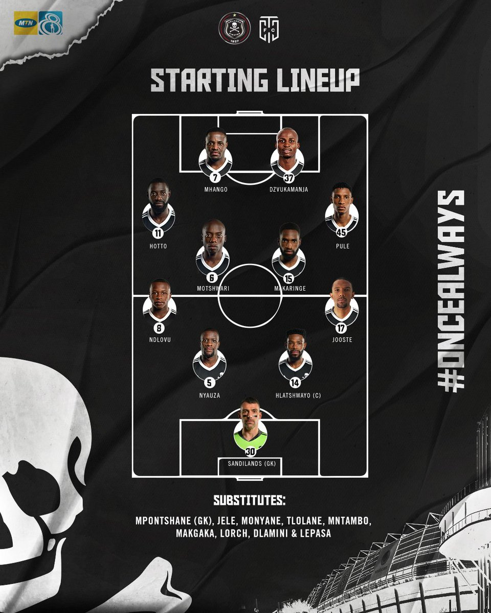 ☠ @orlandopirates Starting Lineup vs @CapeTownCityFC 💻 FORMATION: https://t.co/OvklWAvOxB ⚽ 18h00 🏟 Orlando Stadium 📺 SuperSport Channel 202 ⚫⚪🔴⭐ #MTN8 #Matchday #OrlandoPirates  #OnceAlways https://t.co/kMvDEC20uo