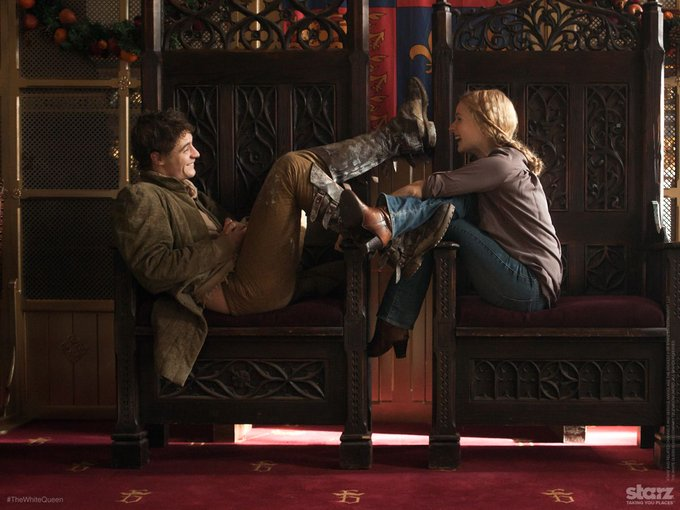 """Rebecca Ferguson and Max Irons on set of \""""The White Queen\"""" (2013) 