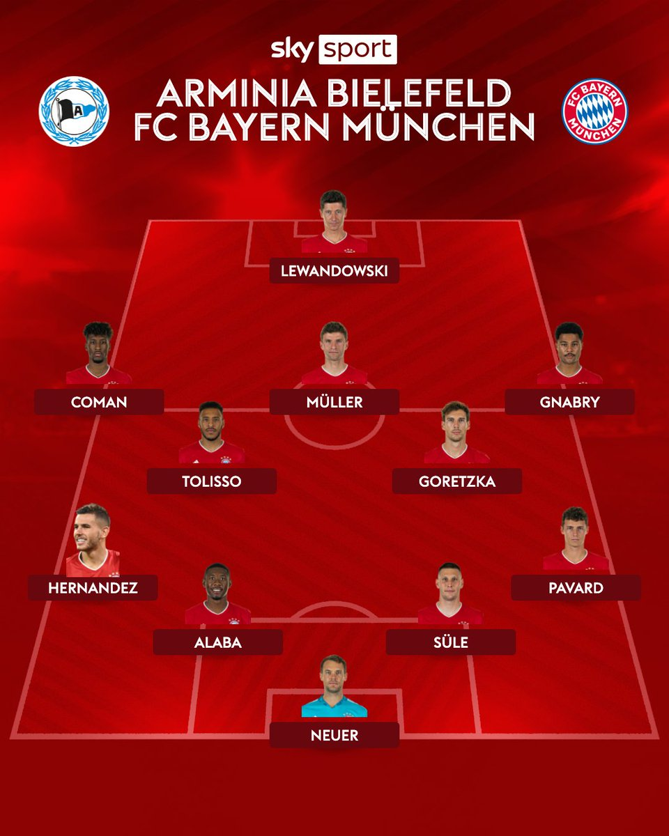 Ohne Kimmich! So geht der FC Bayern ins Topspiel gegen Arminia Bielefeld!  Die Arminia startet mit dieser Mannschaft:  Ortega - Lucoqui, van der Hoorn, Pieper, de Medina - Hartel, Prietl, Kunze - Doan, Klos, Gebauer  #SkyBuli #DSCFCB https://t.co/wiYBs4CGSD