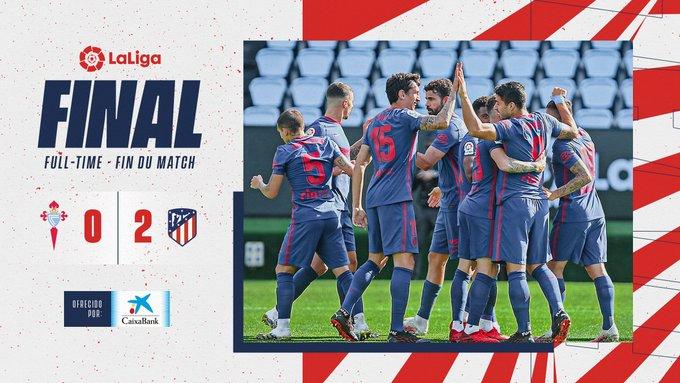Celta de Vigo 0x2 Atlético de Madrid  +3 Pontos, Atlético jogou o que sabe, e levou a partida com gols de SUAREZ & CARRASCO.   A PROXIMA PARADA É CONTRA O BAYERN NA CHAMPIONS, VAMOS COM TUDO!. https://t.co/vvNTMCbclA