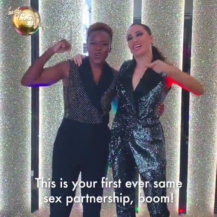 We dont know who was more excited about meeting their new dance partner, @NicolaAdamsOBE or @Mrs_katjones! 😄 #Strictly