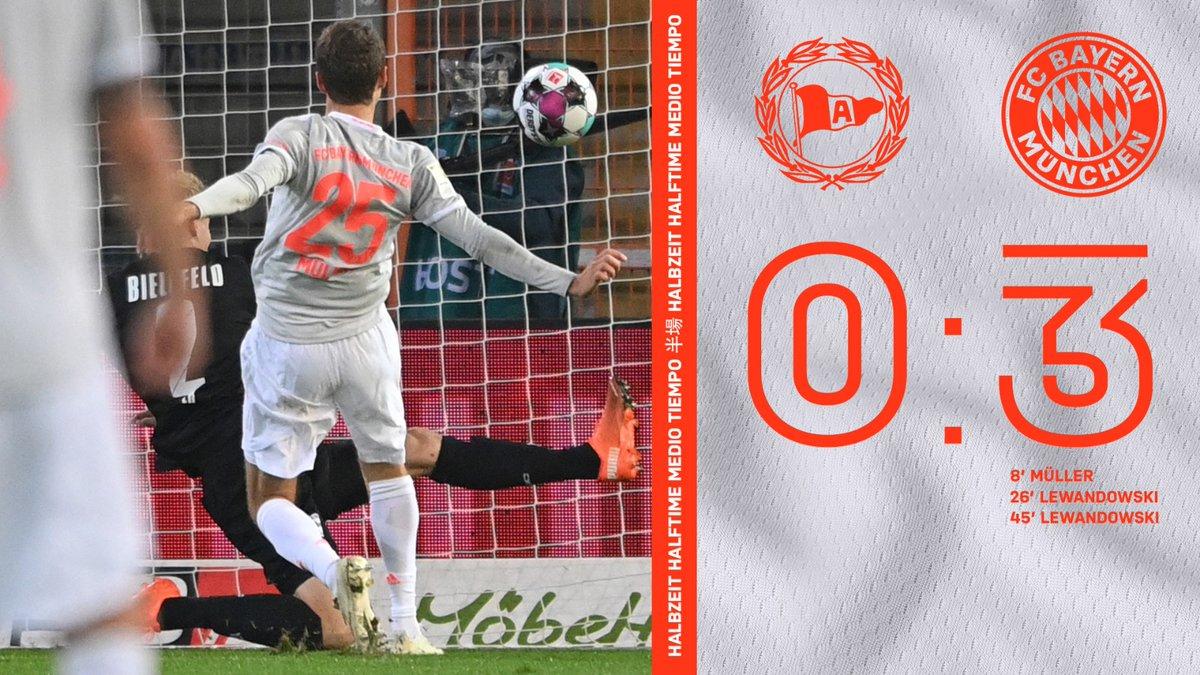 ⏱ 45'  | Mi-temps  Arminia Bielefeld 0 vs 3 Bayern Munich.   #DSCFCB #FCBAYERN  📸 @FCBayern https://t.co/I6OHxhcMvE