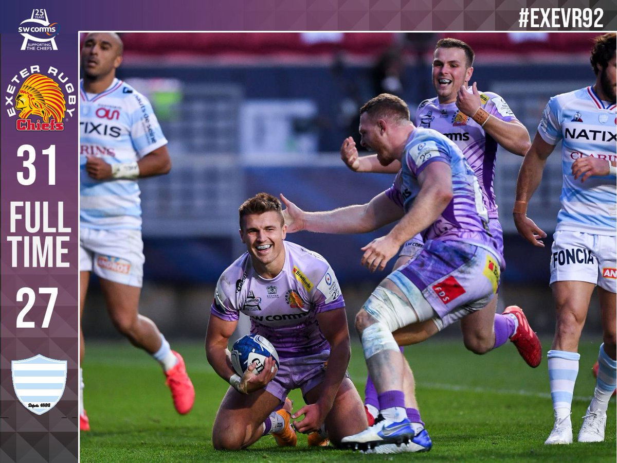 FULL TIME: @ExeterChiefs 31 @racing92 27 #EXEvR92