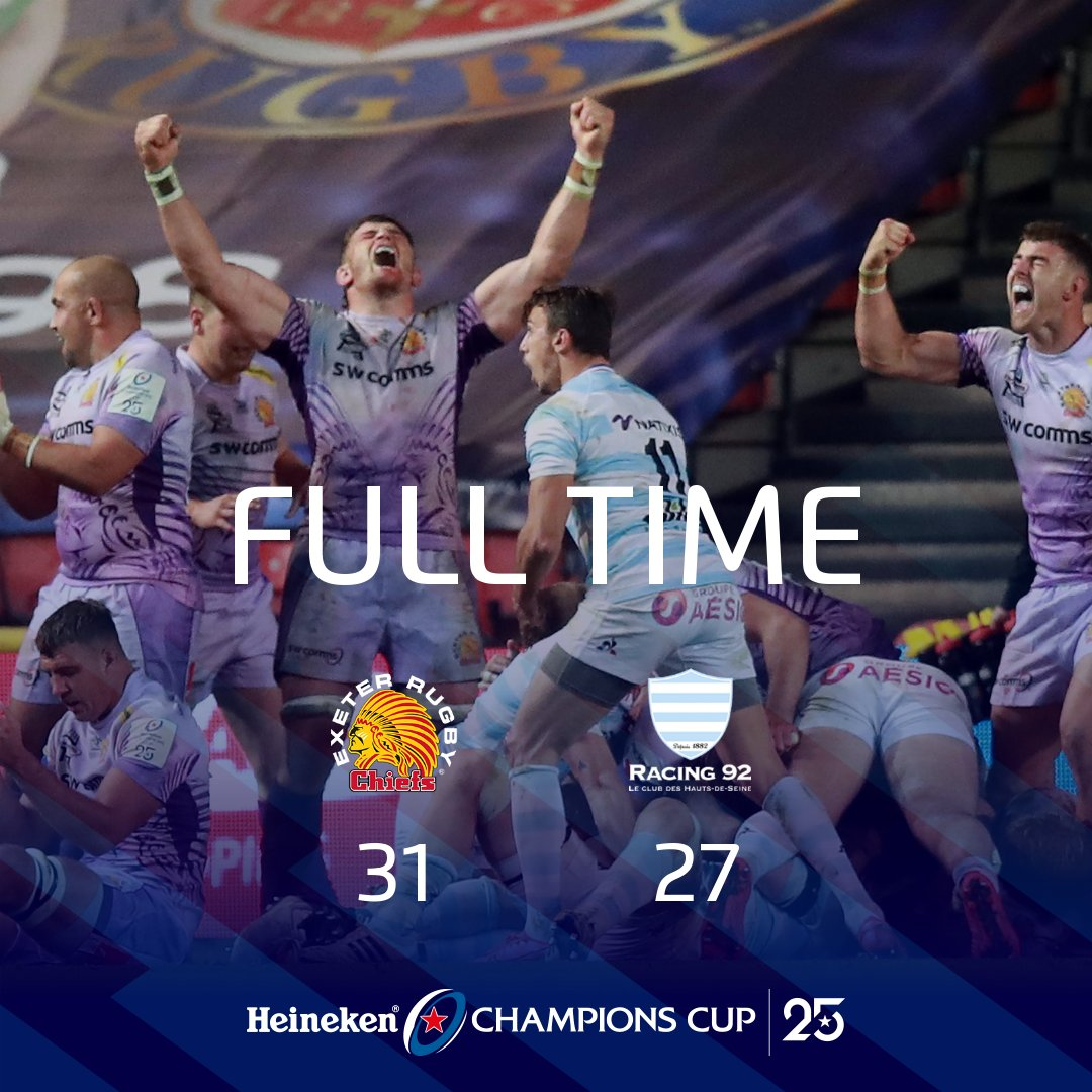 What a game of rugby @ExeterChiefs @racing92 a truly incredible final and very well done to @ExeterChiefs on being champions of Europe 🏆 #HeinekenChampionsCup #EXEvRAC