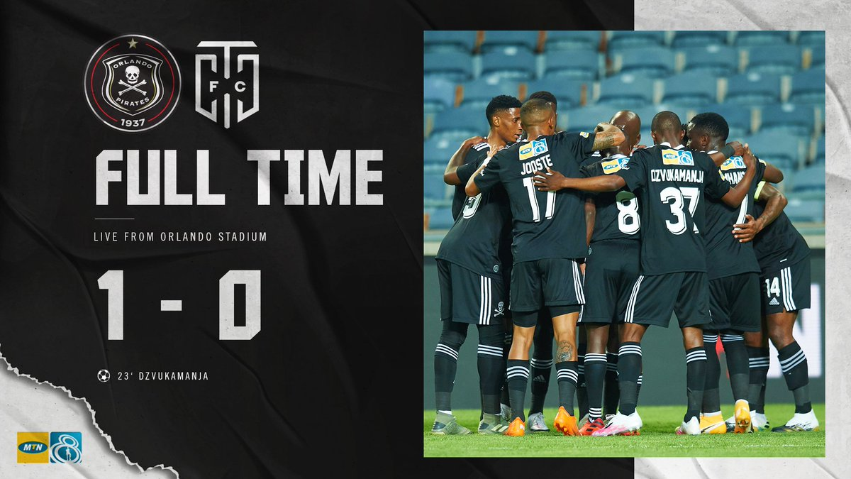 ☠ FT || @orlandopirates 1 - 0 @CapeTownCityFC 🥅 23' Dzvukamanja  It's all over at Orlando as the Bucs advance to the semi finals. Dzvukamanja's goal is the difference as the Bucs get one over the visitors ⚫⚪🔴⭐ #MTN8 #Matchday #OrlandoPirates #OnceAlways https://t.co/FXsgpvtztc