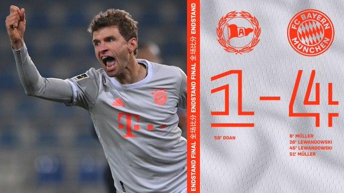 ⏱ 90+2'  | Fin de match  Arminia Bielefeld 1 vs 4 Bayern Munich.   #DSCFCB #FCBAYERN  📸 @FCBayern https://t.co/BkliM9vyTx