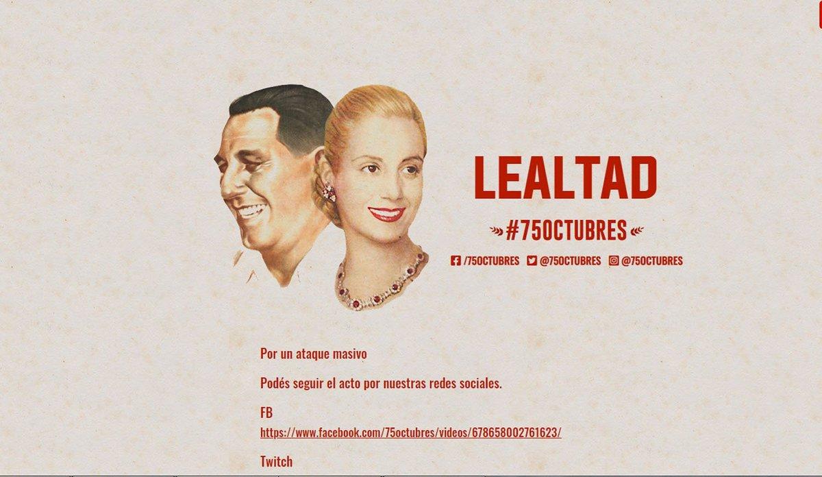 📲✌️ #17Octubres | #MovilizaciónVirtual | #DiaDeLaLealtadPeronista |  Comenzó la marcha virtual del 17 de octubre: la página del acto sufrió un ataque