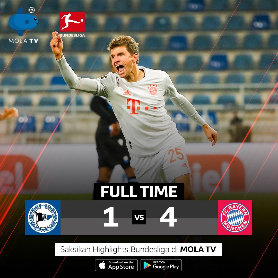 Full time! Bayern pesta 4 gol di kandang Arminia Bielefeld. Thomas Müller dan Robert Lewandowski masing-masing mencetak 2 gol untuk kemenangan Die Roten.  Saksikan highlights Bielefeld vs Bayern di Mola TV. Subscribe Mola TV sekarang!  https://t.co/4xiF5RlSJJ  #BundesligadiMolaTV https://t.co/TsceUgqFFY