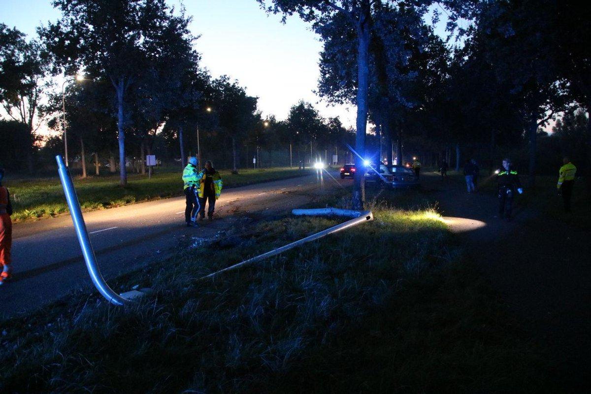 Ravage en aanhouding bij éénzijdig ongeval in Zwolle .