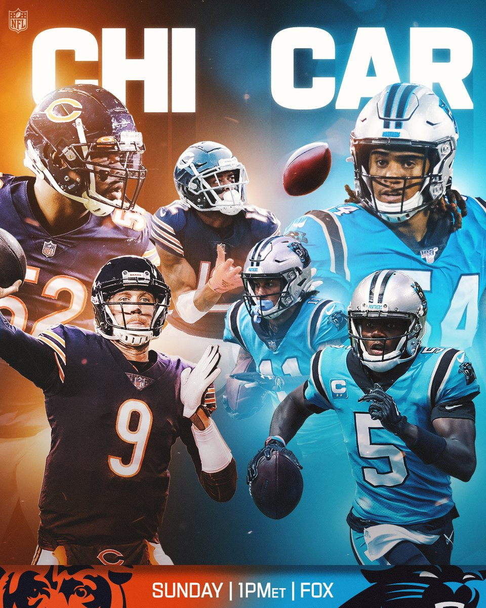 .@ChicagoBears vs. the @Panthers. Big one in the NFC. 😤 📺: #CHIvsCAR -- TOMORROW 1pm ET on FOX 📱: NFL app // Yahoo Sports app