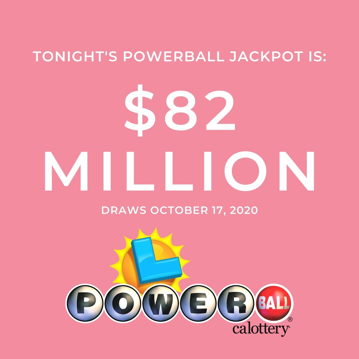 Tonight's #Powerball jackpot is $82 Million! Visit your local retailer to purchase your ticket today! #JackpotAlert #calottery https://t.co/7zBZJFA5R1