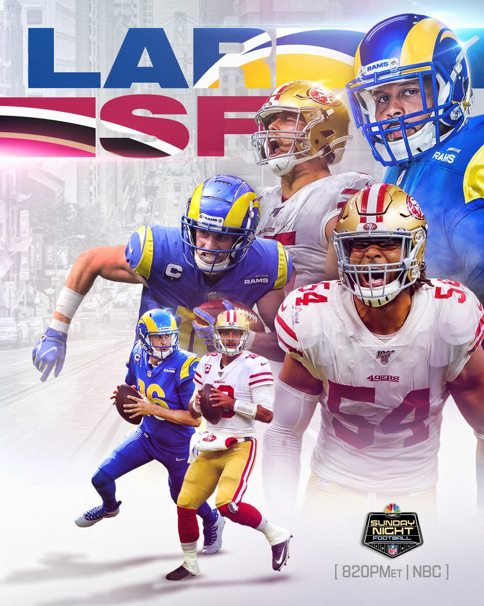 .@RamsNFL. @49ers. Whos winning this California showdown on Sunday night? 📺: #LARvsSF -- TOMORROW 8:20pm ET on NBC 📱: NFL app // Yahoo Sports app