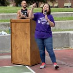 Image for the Tweet beginning: SEIU Texas President, Elsa Caballero,