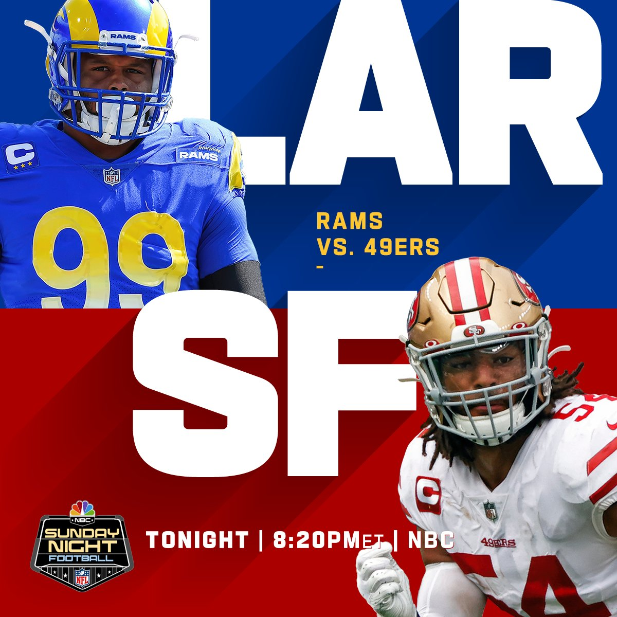 Big game in the NFC West. @RamsNFL vs @49ers on Sunday Night Football. 📺: #LARvsSF -- TONIGHT 8:20pm ET on NBC 📱: NFL app // Yahoo Sports app