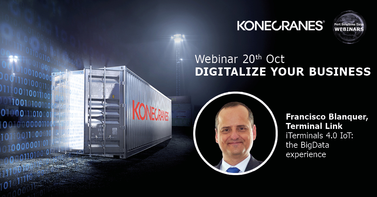 "The #IoT is taking shape and #BigData is driving it. Join our ""Digitalize your business"" #webinar on October 20 and learn from industry expert Francisco Blanquer how to bring it to your container terminal. Register here: https://t.co/0ANPR3wp9s #portsolutionsdays https://t.co/42rUA6OhIh"