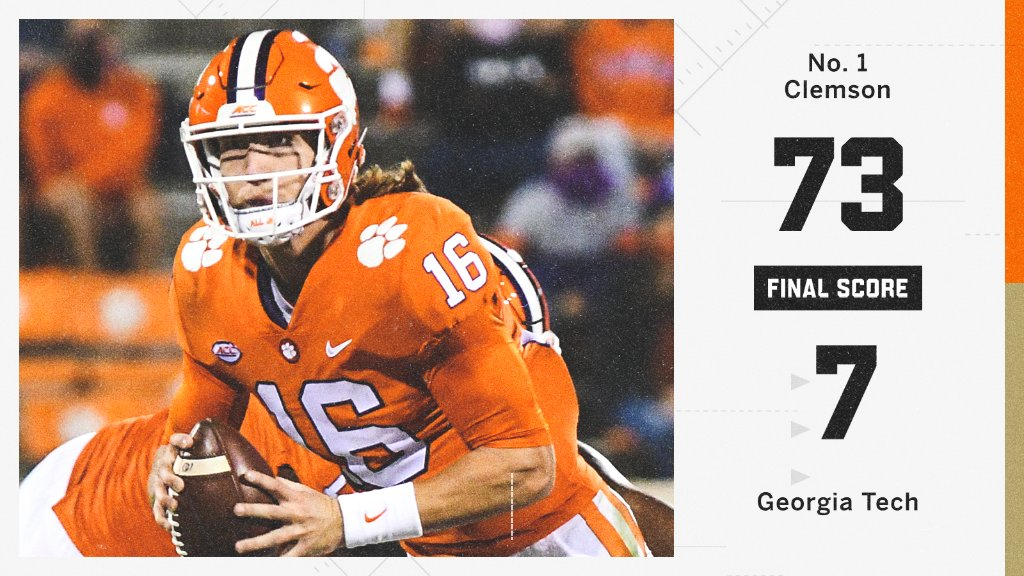 Espn On Twitter Dominance Clemson Takes Down Georgia Tech With The Biggest Win In A Conference Game In Acc History