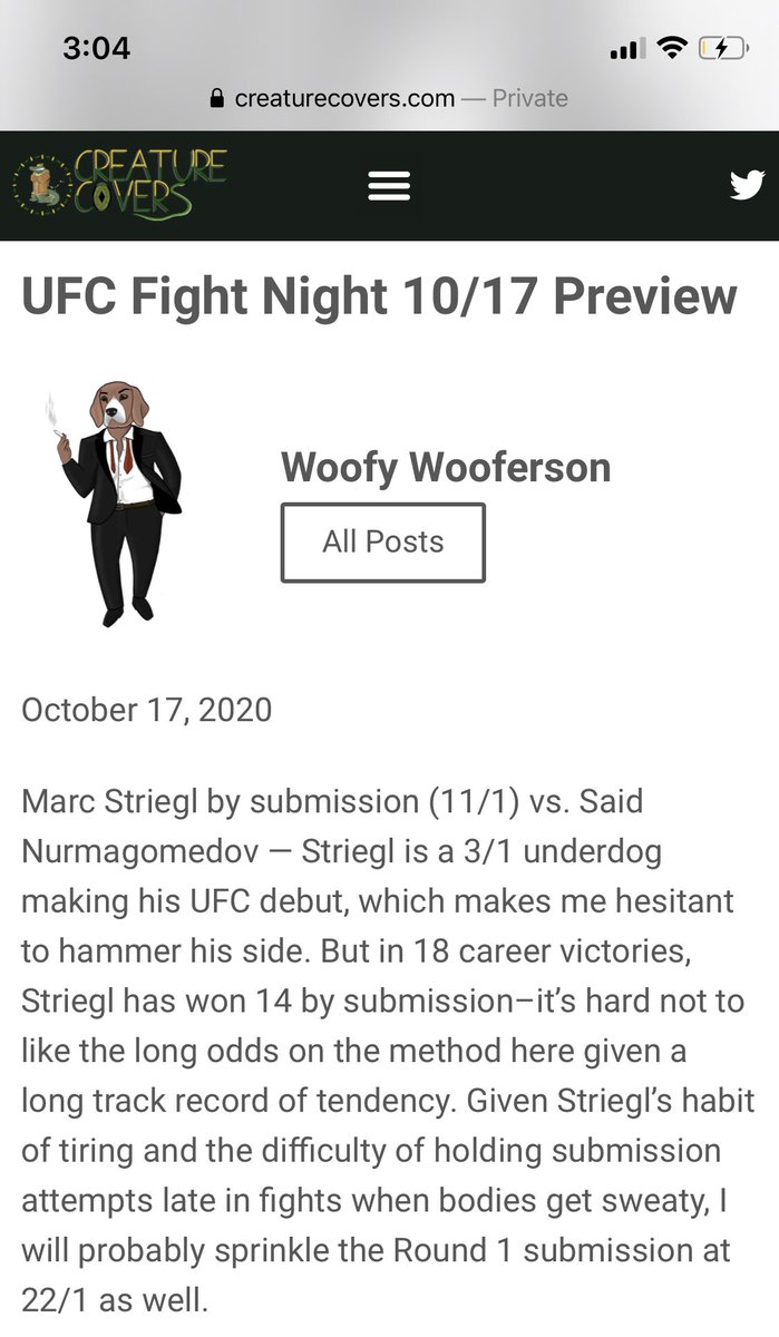🚨#UFCFightIsland6 BET🚨  🐕 Mark Striegl by submission 11/1 #BetMGM 🐕 Mark Striegl R1 Sub 22/1 (everywhere)  0.25U longshots to start the slate... here's what we had to say  Fight kicks off the card in 10 minutes!  #gamblingtwitter #sportsbetting #mmapicks #ufcpicks #ufcbets https://t.co/UfrGpRf6xM