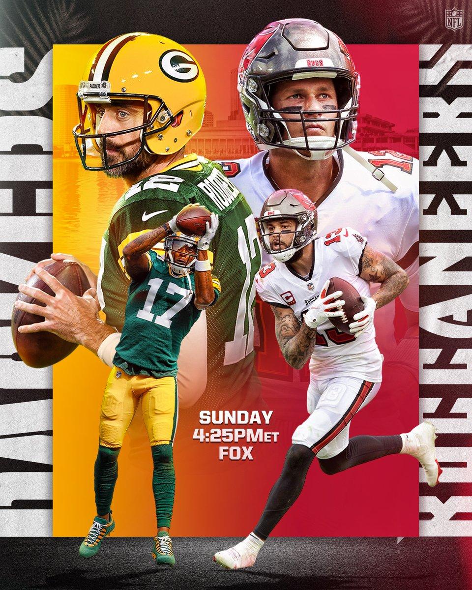 .@Packers. @Buccaneers. Aaron Rodgers vs. Tom Brady 📺: #GBvsTB — Sunday 4:25pm ET on FOX 📱: NFL app // Yahoo Sports app