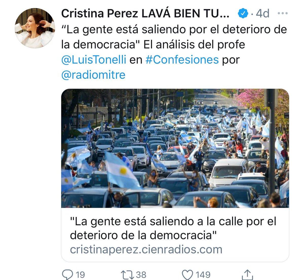@Cris_noticias @PabloWende @radiomitre Mientras tanto en el mundo del periodismo que tiene precio y se vende al mejor postor de Cris, cuando la marcha es opositora, publica en sus redes... ahora sobre la marcha virtual por el 17 de octubre, nada dice... en fin, el periodismo que informa segun quien le pone el billete https://t.co/WVIPI8xvJI