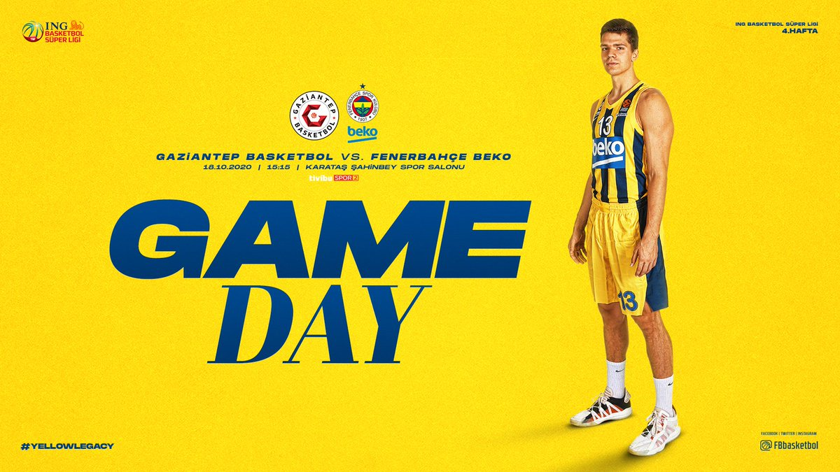 🔥 Maç günü! 🏆 @basketsuperligi 4. hafta 🆚 @gantepbasketbol 📍 Karataş Şahinbey Spor Salonu 🕞 15.15 🔗 Maç raporu: https://t.co/UyIVEKr6nc 📺 @tivibuspor 2 📱 #YellowLegacy https://t.co/6STO3qHMR1