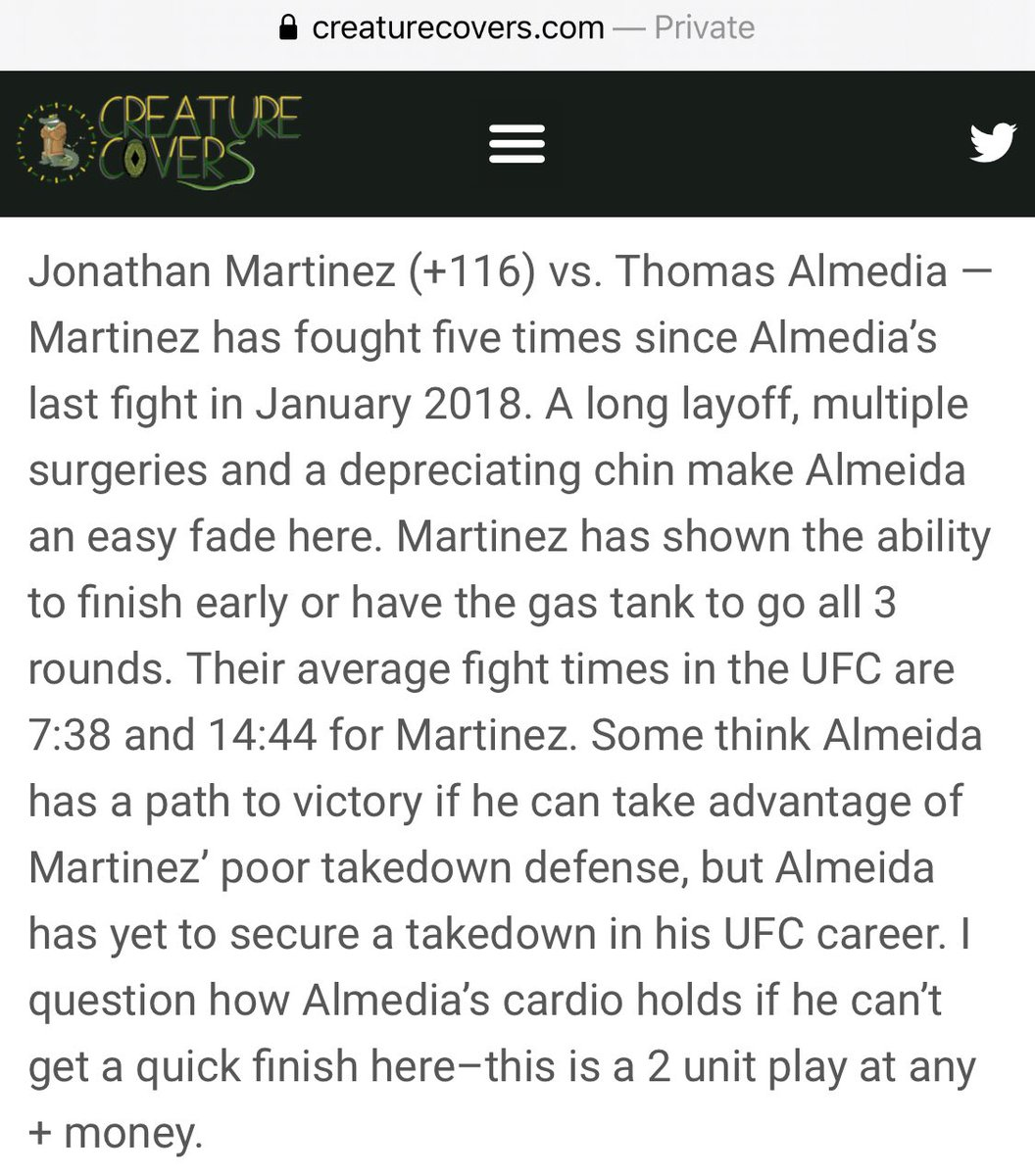 🚨 #UFCFightIsland6 BET🚨   🐕 Jonathan Martinez +110   💣 💣 2-UNIT 💣 💣  Here's what @CreatureCovers wrote about our 2U ML play  🥊 🐶 🥊 🐶 🥊  #gamblingtwitter #sportsbetting #ufcpicks #ufcbets #mmapicks #mmabets #mmabetting #UFCFightIsland6 https://t.co/0SmzhSs4W6