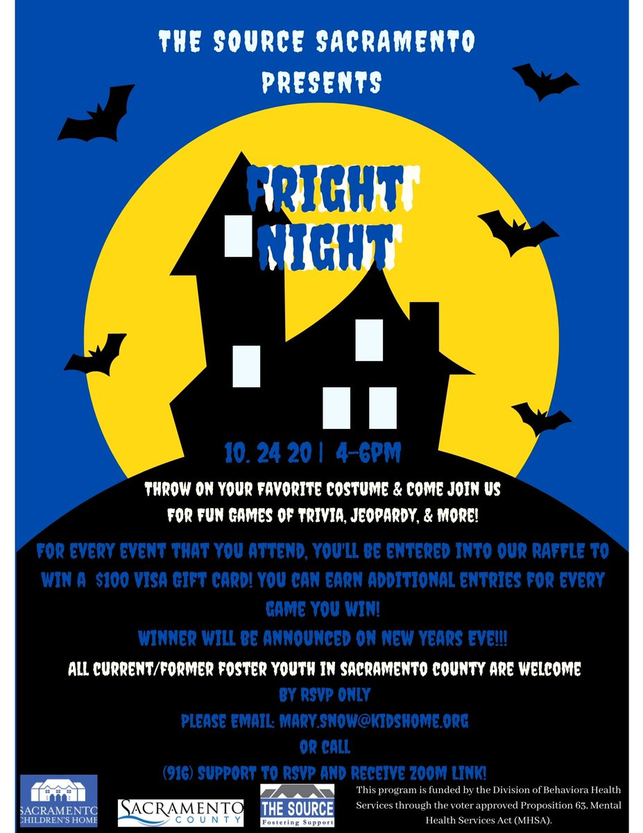 All Sacramento Foster Youth are welcome to join our Advocacy Team for this Halloween Party Night. After you RSVP, you will be entered to win a $100 Visa Card!  #Halloween #VirtualEvents #FosterYouth #fostercare #Sacramento #raffle #SacCounty https://t.co/LPvaaJ82gs