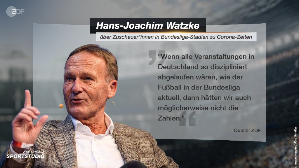 Über die wieder gewachsene Zahl der Geisterspiele zeigt sich @BVB-Geschäftsführer Hans-Joachim #Watzke im #sportstudio enttäuscht. Wie er die Corona-Situation im Fußball und das Spiel gegen Hoffenheim bewertet, erfahrt ihr in der ganzen Sendung ➡️ https://t.co/ZfjOZj3n95 https://t.co/2wjaB0jz3i