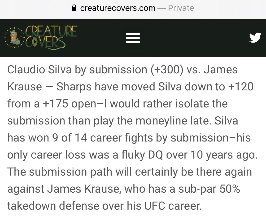 🚨#UFCFightIsland6 BET🚨  🐕 Claudio Silva by submission (+300)  🥊 🐶 🥊 🐶 🥊 🐶 🥊  #gamblingtwitter #sportsbetting #mmapicks #mmatwitter #ufcpicks #ufcbets #freepicks #UFC https://t.co/xfCtck0dHL