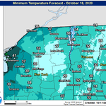 Image for the Tweet beginning: Seasonably cool overnight lows expected