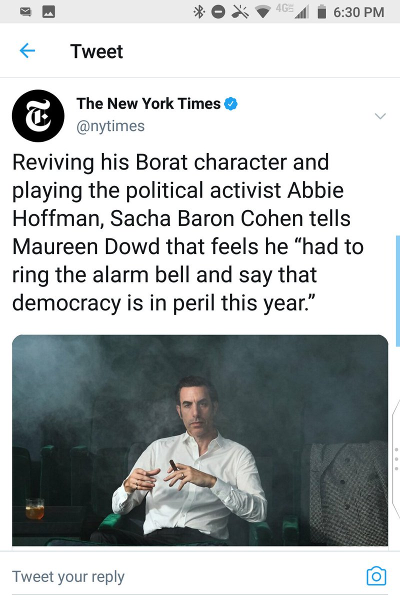 "@nytimes Delete:  ""Sacha Baron Cohen tells Maureen Dowd that feels he 'had to ring the alarm bell'"" is pidgin English for ""Sacha Baron Cohen tells Maureen Dowd that *he feels,"" etc. https://t.co/isuugmTkSz"